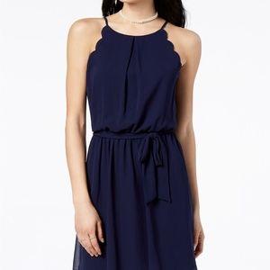 BCX Juniors' Scalloped Sleeveless Dress with Sash